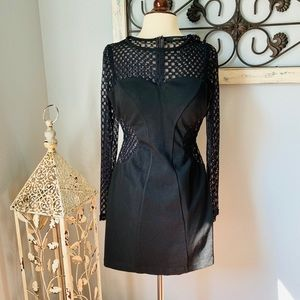 ARK & CO BLACK AND LACE CUTOUT BODYCON DRESS NWOT